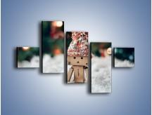 Obraz na płótnie – Mały ludek zimową porą – pięcioczęściowy O166W3