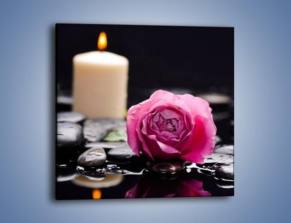 Obraz na płótnie – Kwiat w odbiciu świecy – jednoczęściowy kwadratowy K1008