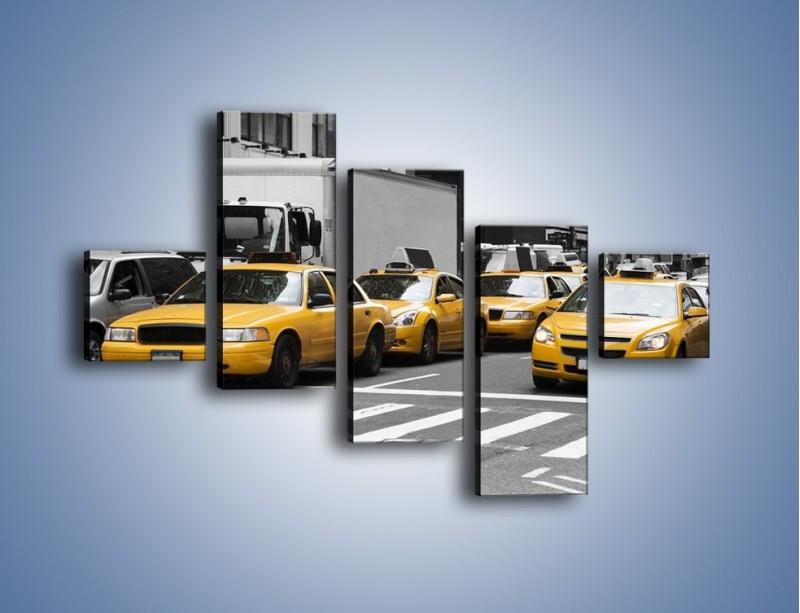 Obraz na płótnie – Amerykańskie taksówki w korku ulicznym – pięcioczęściowy TM219W3