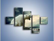 Obraz na płótnie – Donośny krzyk polarnego niedźwiedzia – pięcioczęściowy Z114W3
