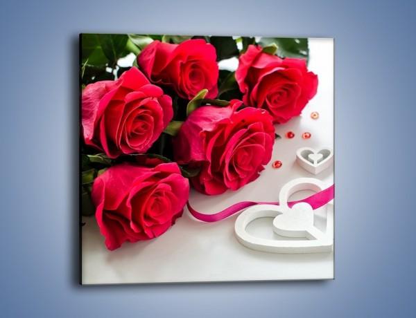 Obraz na płótnie – Róża z miłosnym przekazem – jednoczęściowy kwadratowy K1011