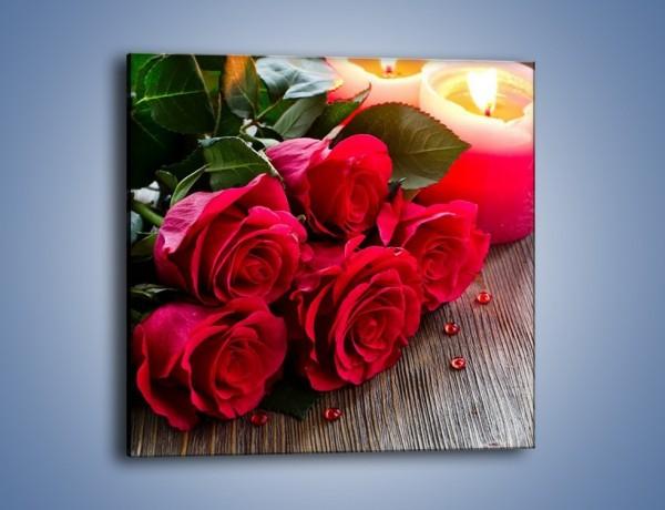 Obraz na płótnie – Wieczór we dwoje przy różach – jednoczęściowy kwadratowy K1015