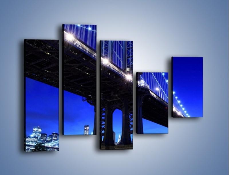 Obraz na płótnie – Oświetlony most wieczorem – pięcioczęściowy AM003W4