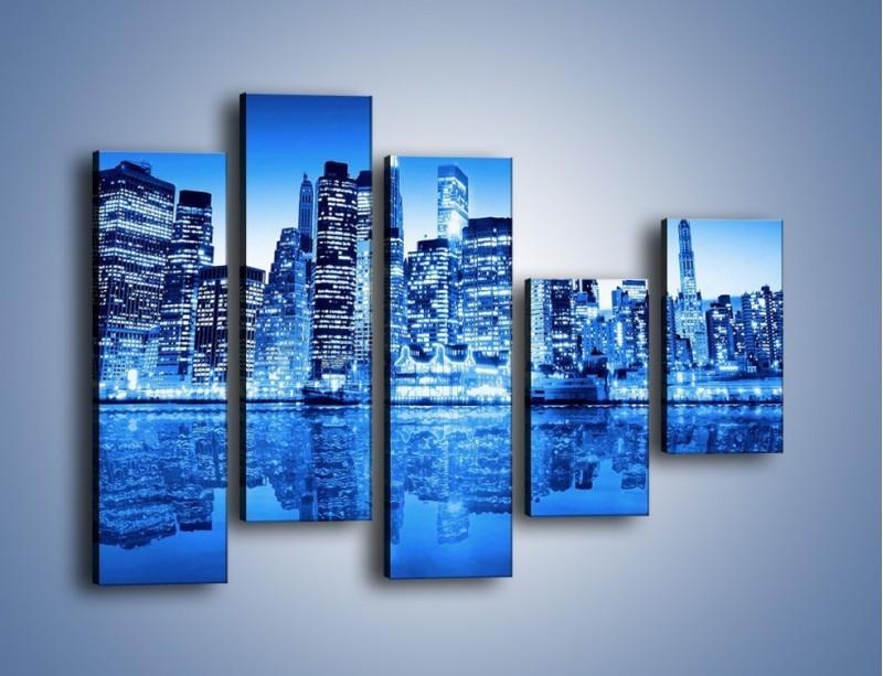 Obraz na płótnie – Odbicie miasta w tafli wody – pięcioczęściowy AM004W4