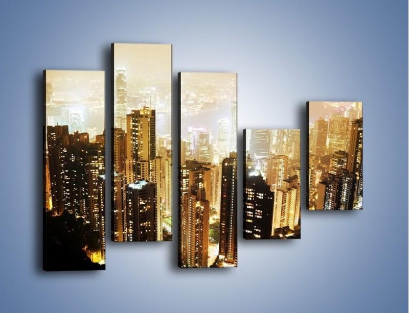 Obraz na płótnie – Miasto widziane z góry – pięcioczęściowy AM007W4