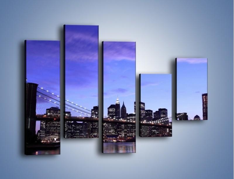 Obraz na płótnie – Most Brookliński przed zmierzchem – pięcioczęściowy AM016W4
