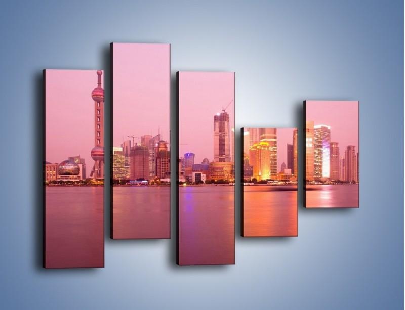 Obraz na płótnie – Miasto o poranku w odcieniach różu – pięcioczęściowy AM020W4
