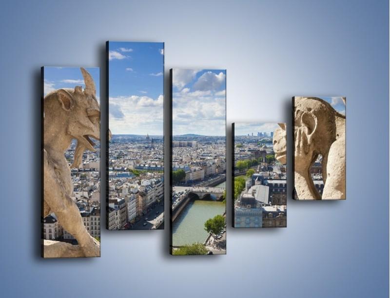 Obraz na płótnie – Kamienne gargulce nad Paryżem – pięcioczęściowy AM037W4