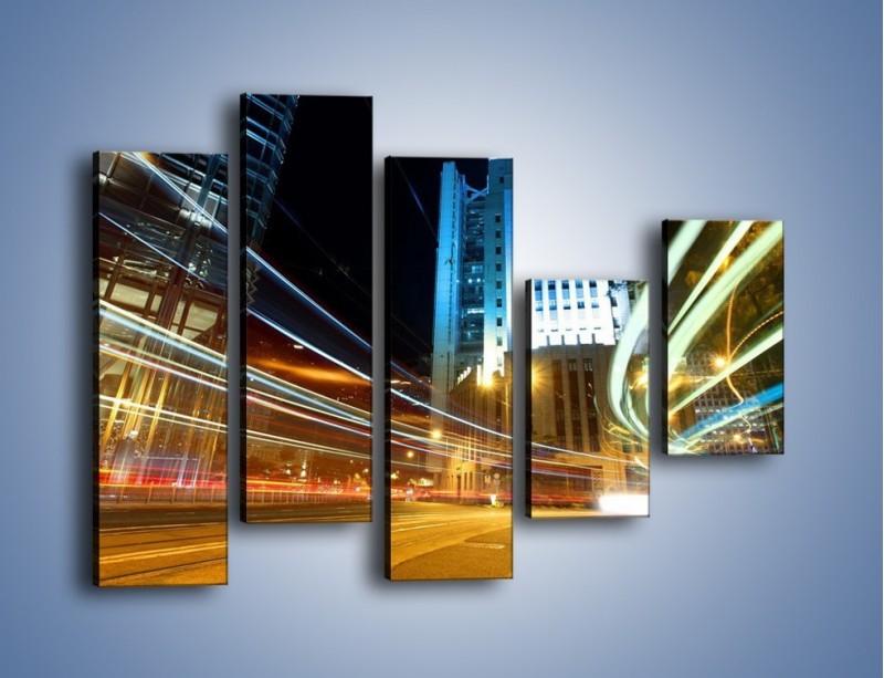 Obraz na płótnie – Światła w ruchu ulicznym – pięcioczęściowy AM048W4