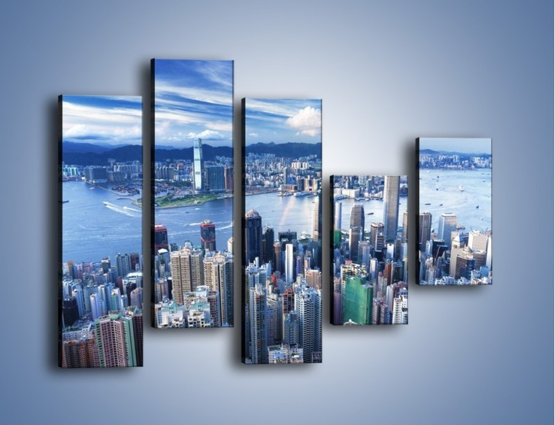 Obraz na płótnie – Miasto portowe o poranku – pięcioczęściowy AM050W4