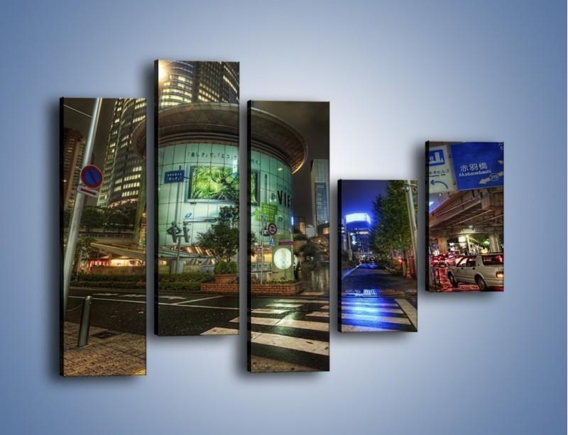 Obraz na płótnie – Spokojne Tokyo nocą – pięcioczęściowy AM056W4