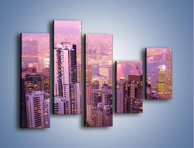 Obraz na płótnie – Duże miasto budzące się o poranku do życia – pięcioczęściowy AM062W4