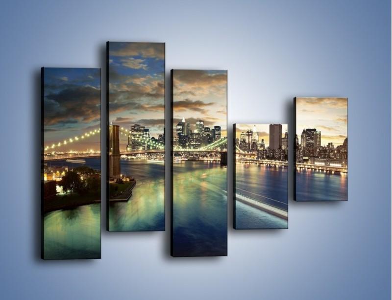 Obraz na płótnie – Oświetlony most w Nowym Jorku – pięcioczęściowy AM066W4