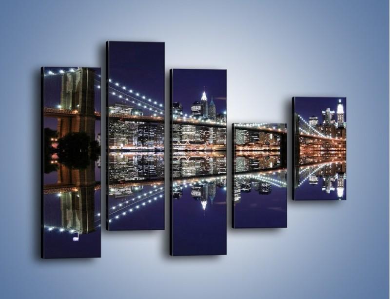 Obraz na płótnie – Most Brookliński w lustrzanym odbiciu wody – pięcioczęściowy AM067W4