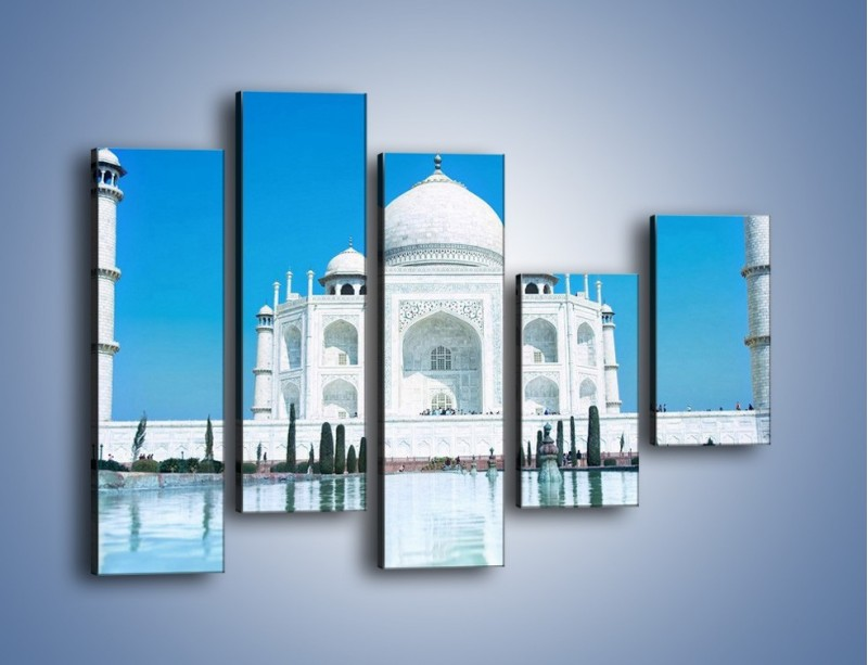 Obraz na płótnie – Taj Mahal pod błękitnym niebem – pięcioczęściowy AM077W4