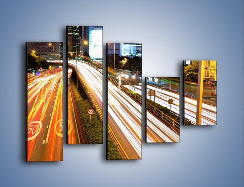 Obraz na płótnie – Ulice w ruchu w mieście – pięcioczęściowy AM089W4