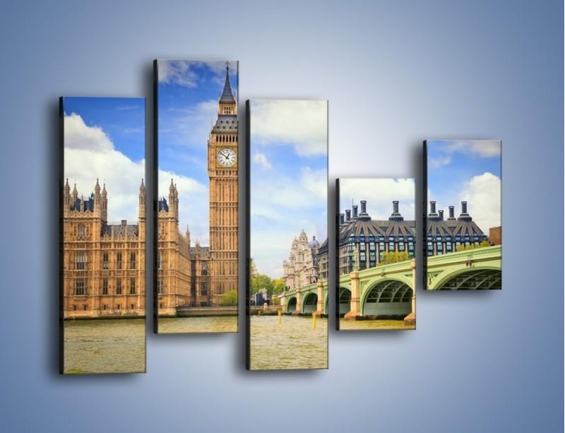 Obraz na płótnie – Big Ben w pochmurny dzień – pięcioczęściowy AM095W4