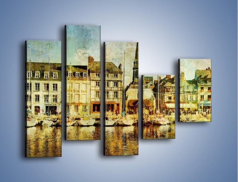Obraz na płótnie – Łódki nad brzegiem miasteczka w stylu vintage – pięcioczęściowy AM108W4