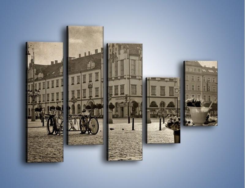 Obraz na płótnie – Rynek Starego Miasta w stylu vintage – pięcioczęściowy AM138W4