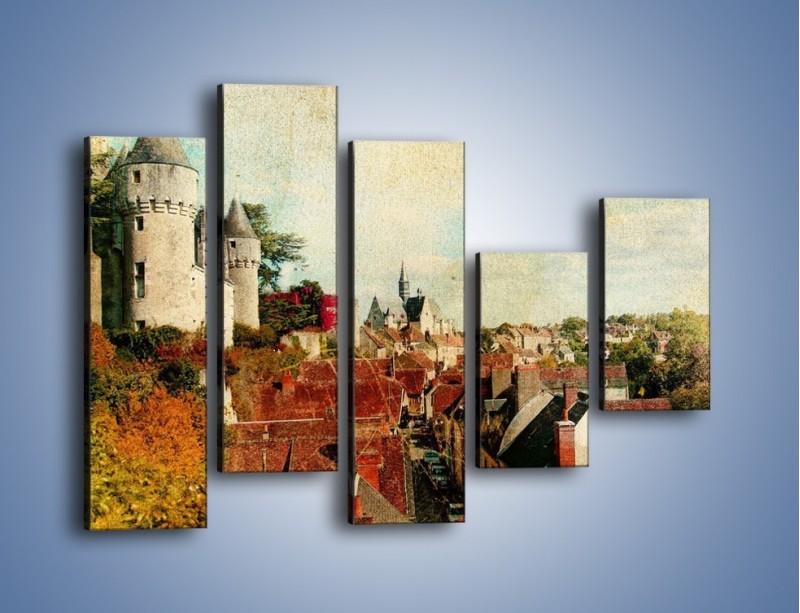 Obraz na płótnie – Zamek nad miasteczkiem w stylu vintage – pięcioczęściowy AM142W4