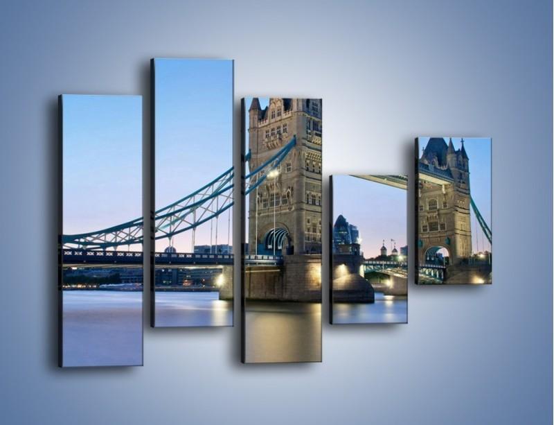 Obraz na płótnie – Tower Bridge o poranku – pięcioczęściowy AM143W4