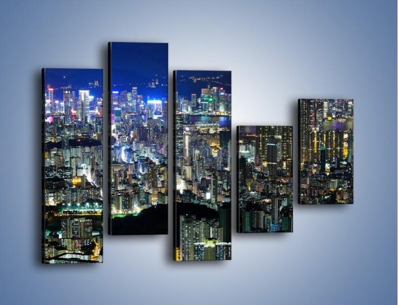 Obraz na płótnie – Nocne światła w dużym mieście – pięcioczęściowy AM144W4