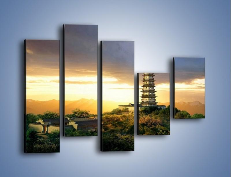 Obraz na płótnie – Azjatycka architektura o poranku – pięcioczęściowy AM151W4