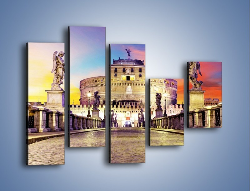 Obraz na płótnie – Zamek św. Anioła na tle kolorowego nieba – pięcioczęściowy AM156W4