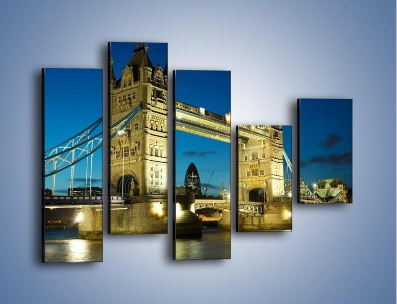 Obraz na płótnie – Tower Bridge wieczorową porą – pięcioczęściowy AM159W4