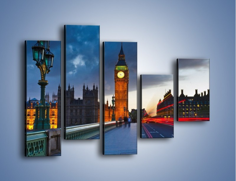 Obraz na płótnie – Big Ben świetle lamp – pięcioczęściowy AM166W4