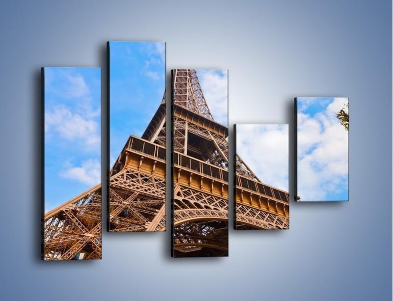 Obraz na płótnie – Wieża Eiffla pod chmurkami – pięcioczęściowy AM173W4