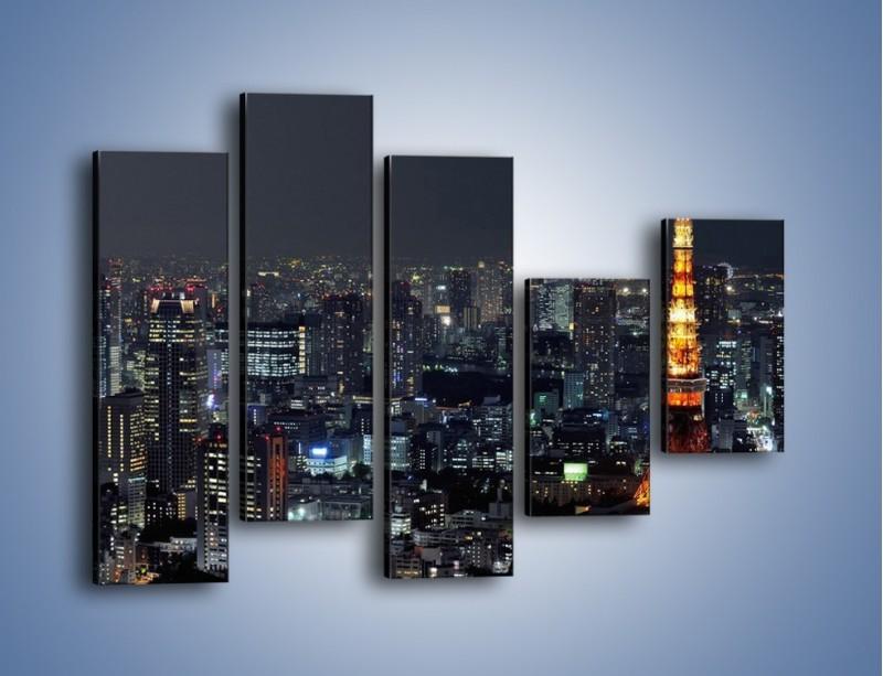 Obraz na płótnie – Rozświetlona Wieża Eiffla nocą – pięcioczęściowy AM174W4