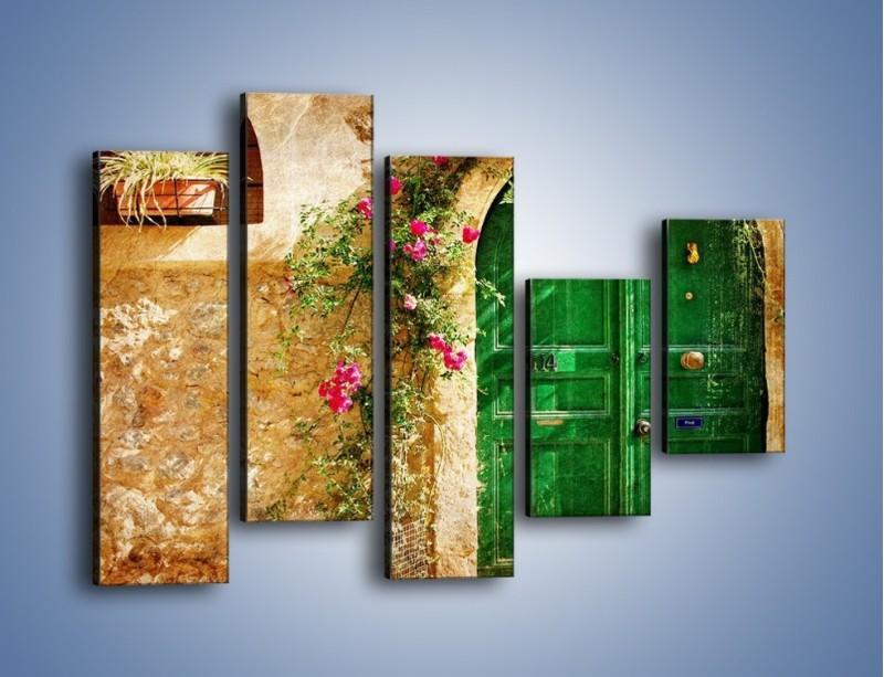 Obraz na płótnie – Drzwi w greckim domu vintage – pięcioczęściowy AM192W4