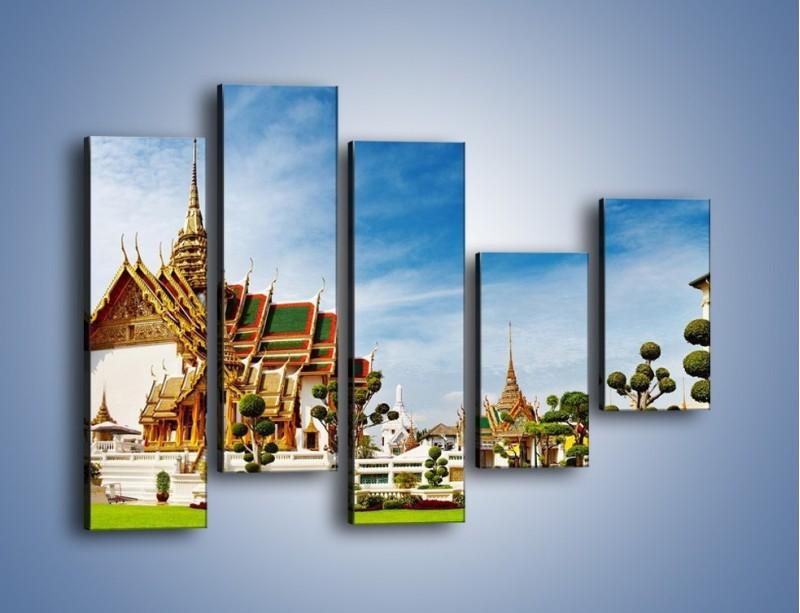 Obraz na płótnie – Tajska architektura pod błękitnym niebem – pięcioczęściowy AM197W4