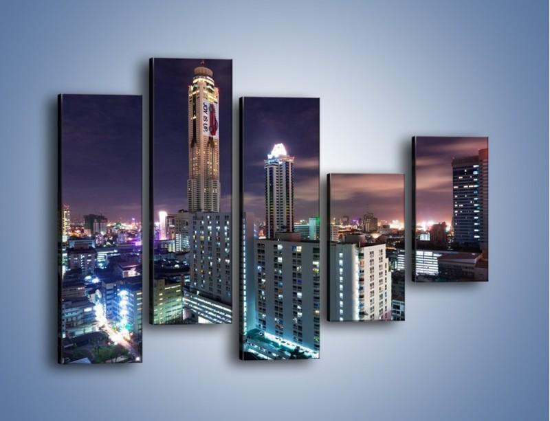 Obraz na płótnie – Duże miasto nocą – pięcioczęściowy AM202W4