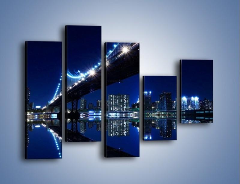 Obraz na płótnie – Oświetlony most w odbiciu wody – pięcioczęściowy AM211W4