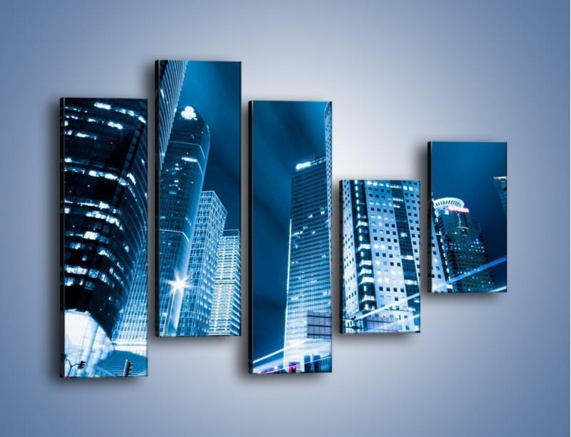 Obraz na płótnie – Wieżowce w mieście nocą – pięcioczęściowy AM216W4