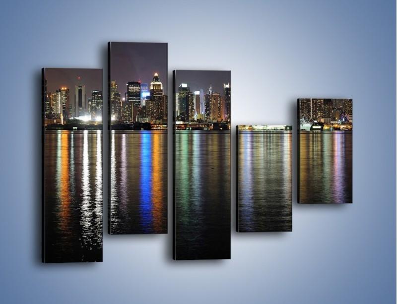 Obraz na płótnie – Światła miasta w lustrzanym odbiciu wody – pięcioczęściowy AM222W4