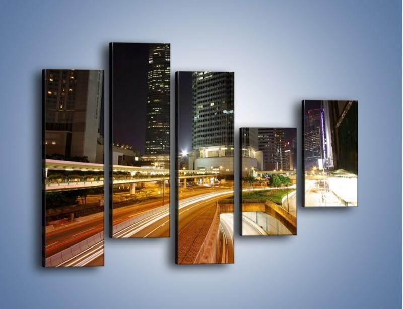 Obraz na płótnie – Miasto w nocnym ruchu ulicznym – pięcioczęściowy AM225W4