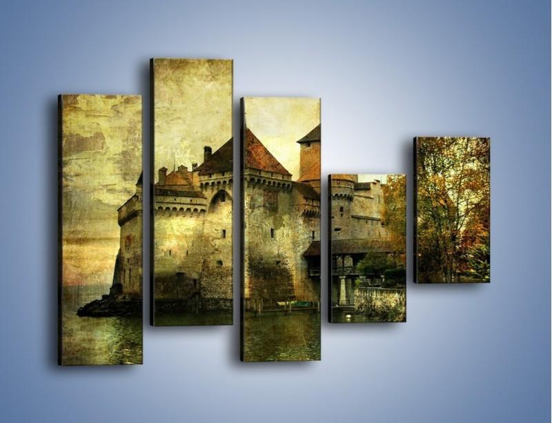 Obraz na płótnie – Średniowieczny zamek w stylu vintage – pięcioczęściowy AM233W4