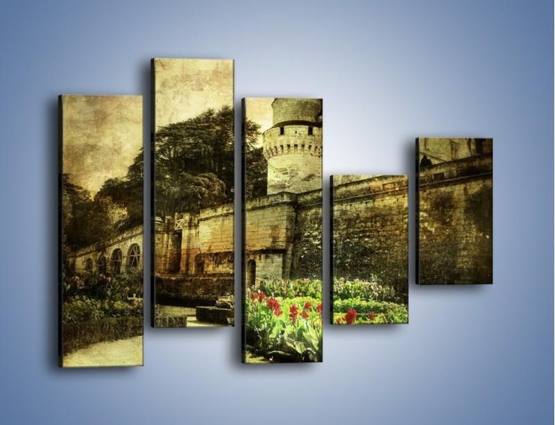 Obraz na płótnie – Zamek w stylu vintage – pięcioczęściowy AM234W4