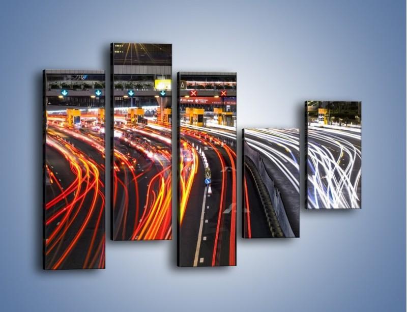 Obraz na płótnie – Autostradowa bramka w ruchu świateł – pięcioczęściowy AM236W4