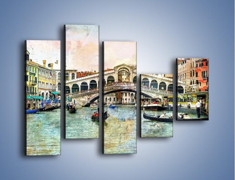 Obraz na płótnie – Wenecja w stylu vintage – pięcioczęściowy AM239W4
