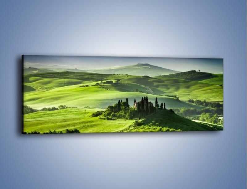 Obraz na płótnie – Rezydencja wśród urodzajnych pól – jednoczęściowy panoramiczny KN1178A