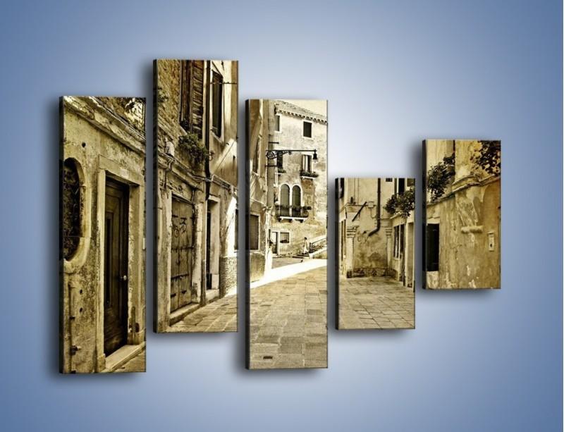 Obraz na płótnie – Stara uliczka w stylu vintage – pięcioczęściowy AM243W4