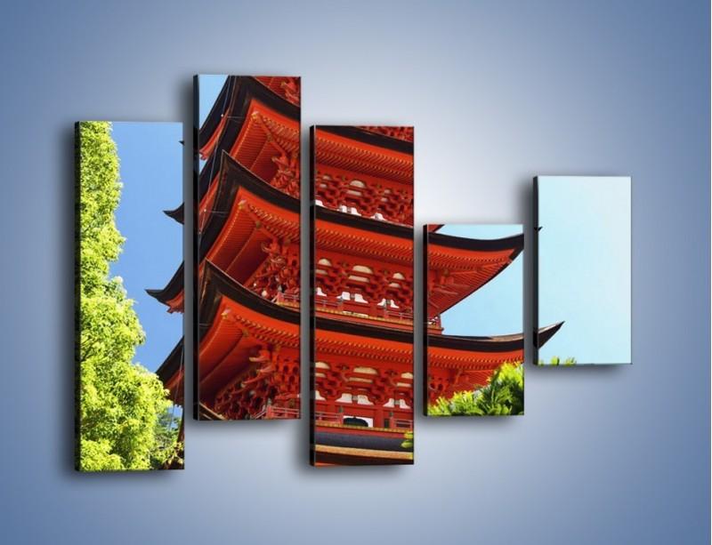 Obraz na płótnie – Japońska architektura wśród drzew – pięcioczęściowy AM252W4