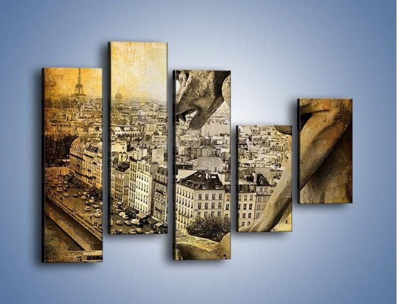 Obraz na płótnie – Paryski gargulec w stylu vintage – pięcioczęściowy AM260W4