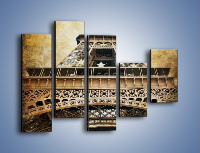 Obraz na płótnie – Wieża Eiffla w stylu vintage – pięcioczęściowy AM261W4