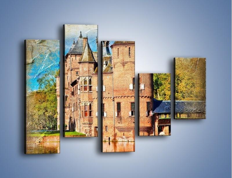 Obraz na płótnie – Zamek nad wodą w stylu vintage – pięcioczęściowy AM262W4
