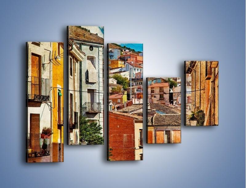 Obraz na płótnie – Kolorowe domki na wzgórzu vintage – pięcioczęściowy AM264W4
